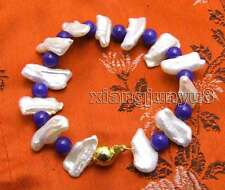 12-15mm White Natural FW Biwa Pearl and 6mm Round Blue Jade 7.5'' Bracelet-328