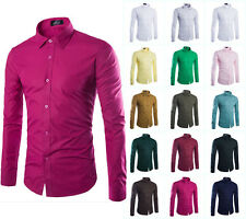 Stylish Mens Luxury Casual Shirts Comfortable Long Sleeve Slim Fit Dress Shirt 7