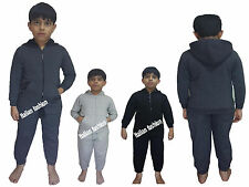 Boys Plain Hooded Tracksuit Kids Jogging Bottoms & Zipper Hoodie Ages 2-6 Years