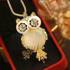 Fashion Cat's Eye Owl Shape Sweater Chain Necklace Pendant Long Crystal Chain