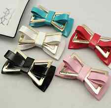 Fashion Black Off White Synthetic Leather PU Plastic Bow Shoe Clips Pair