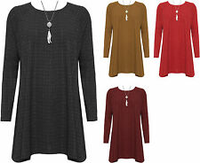 Womens Plus Lurex Necklace Swing Top Ladies Long Sleeve Sparkle Ribbed Flared