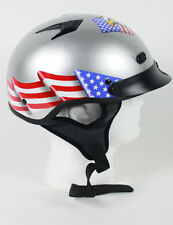 DOT VENTED EAGLE USA FLAG SILVER MOTORCYCLE HALF HELMET BEANIE HELMET