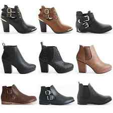 WOMENS LADIES FLAT HIGH HEEL ELASTICATED CUT OUT ANKLE CHELSEA BOOTS SHOES SIZE