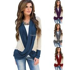 Women Casual Cowl Neck Long Sleeve Patchwork Cross Front Blouse T-Shirts GT56