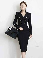 NEW Fashion Formal womens long sleeve Double-Breasted skirt bodycon Button dress