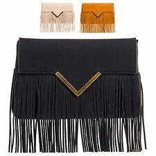 Ladies Faux Leather Fringe Clutch Bag Evening Tassel Party Handbag Purse KL676