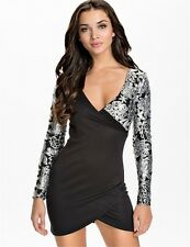 Womens Clothing Long Sleeve Sequined Plus Size Deep V-neck Bodycon Dress