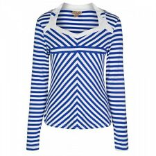 NEW VINTAGE 50'S STYLE NIKITA BLUE STRIPED LONG SLEEVED TOP
