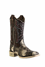 Outlaw Chocolate Womens Lizard Print Leather Cowboy Western Boots