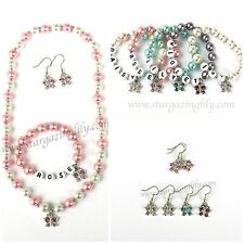 Butterfly Jewelry Set Rhinestone Butterfly and pearls Necklace Earrings Bracelet