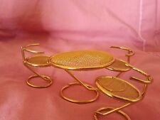 Brass Miniature Doll House Table & Chairs Furniture - 4 Pieces