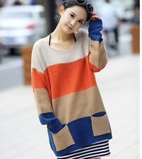 East Knitting Long Sleeve O Neck Pocket Knitted Sweaters