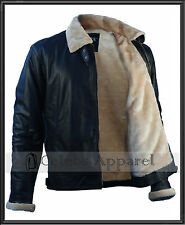 Men's Jet Pilot Genuine Sheepskin Winter Flight Aviator B3 Bomber Leather Jacket