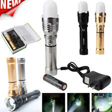Zoom 5W LED Flashlight Bright Outdoor Light Torch Lamp+Charger+Battery+Lampshade
