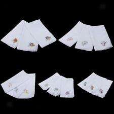 12x Vintage Women Embroidery 100% Cotton Handkerchiefs Wedding Hanky Hand Towel