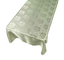 Sage Floral Rose Damask Pattern Rectangle Fabric Tablecloth ~ Choice of 3 Sizes