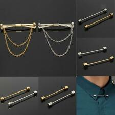Alloy Tie Clip Bar Clasp Cravat Pin Skinny Collar Silver Gold Necktie Brooch