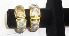 Gold Plated White/Gold Stones Kada Indian Bollywood Bracelet Partywear One Size