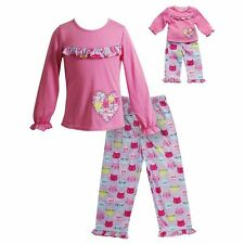 "Dollie Me Girl 4-14 and 18"" Doll Matching Kitty Cat Pajamas Outfit American Girl"
