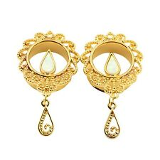 Gold Stainless Steel Ear Stretcher Plugs With Dangle Drop Ear Gauge Flesh Tunnel