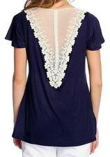 NEW - OSO Casuals® Stretch Knit Short Sleeved Lace Back Detail Scoop Neck Top
