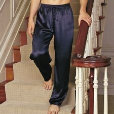 Mens Silk Satin PJ Lounge Pants Black