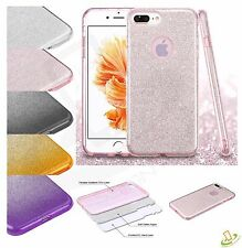 For iPhone 7 Plus 7 Hybrid Bling Glitter Rubber Protective TPU Case Cover