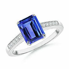 1.40 ctw Solitaire Emerald Cut Tanzanite Engagement Ring with Diamond Accents