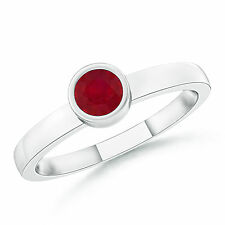 Round Cut Natural Red Ruby Solitaire Ring 14k White Yellow Rose Gold Size 3-13