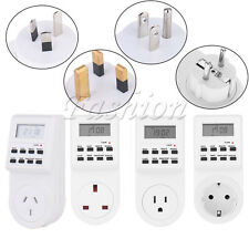 Electronic Digital Mains Timer Socket Plug-In With LCD Display 12/24 Hour 7 Day