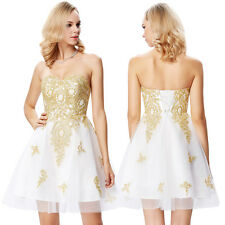 Sexy Golden Appliqued Cocktail Evening Prom Party Short Grad Dress Bridesmaid