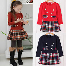 Kids Baby Girl Long Sleeve Plaid Skirt Dress Party Flared Dresses School Uniform