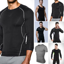 Mens Sport Compression Base Layers Tops Tight T-Shirts/Vests/Athletic Tops Plus