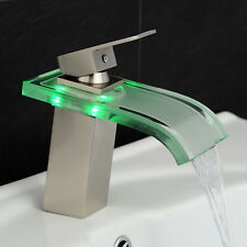 Bathroom Waterfall LED Faucet. Glass Waterfall Brass Basin Faucet. Bathroom Mixe