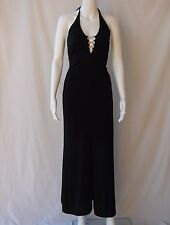 Morgan and Co. Long Black Halter Dress w/Rhinestone Accents Front/Back, Size XS