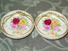 Set Of 2 Vintage Handpainted Porcelain Footed Nut Bowls Gold Guild & Roses