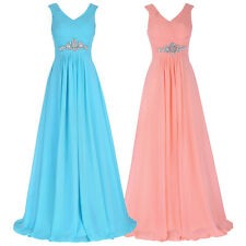 Women Sexy V-neck Evening Formal Party Cocktail Bridesmaid Prom Gown Long Dress