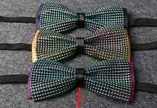 Men Beads Pattern Pre-Tied Necktie Black Bowtie Wedding Christmas Party Tie