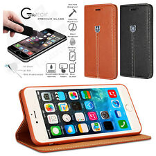 DESIGNER LEATHER WALLET CASE WITH GORILLA GLASS SCREEN GUARD FOR MOBILE PHONES