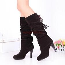 Womens Fashion Winter Faux suede Pull on Stiletto Platform Party Mid-calf Boots