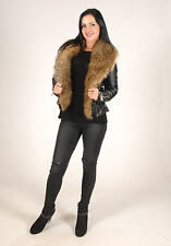 New Womens Glam Black Faux Fur Lined Fur Collar Jacket
