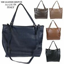 Women's Soft Italian Leather Tote Design Shoulder Handbag H035 Made In Italy