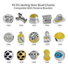925 Sterling Silver Bead Charms for European Charm Bracelet Necklace 23-1261