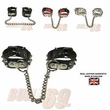2 Row Real Leather Studded Gothic EMO Punk Fetish Handcuffs Made In UK
