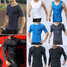 Mens Compression Shirt Base Layer Top Tights T-shirts Undershirt Sportswear Gym