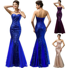 Shiny Sequins Mermaid Formal Bridesmaid Cocktail Evening Party Ball Gown Dress