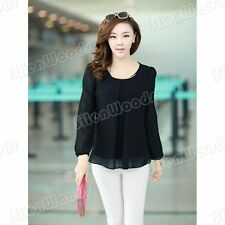 Fashion New Womens Loose Chiffon Blouse Shirt Long Sleeve Lady Casual Tops Tee