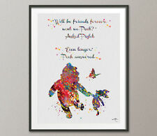Winnie the Pooh with Piglet Quote Watercolor Friends Print Wall Art Nursery Art