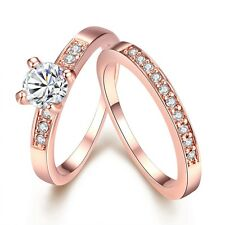Fashion 18K Rose White Gold GP Couple Lover Elegent Crystal Wedding Women Ring